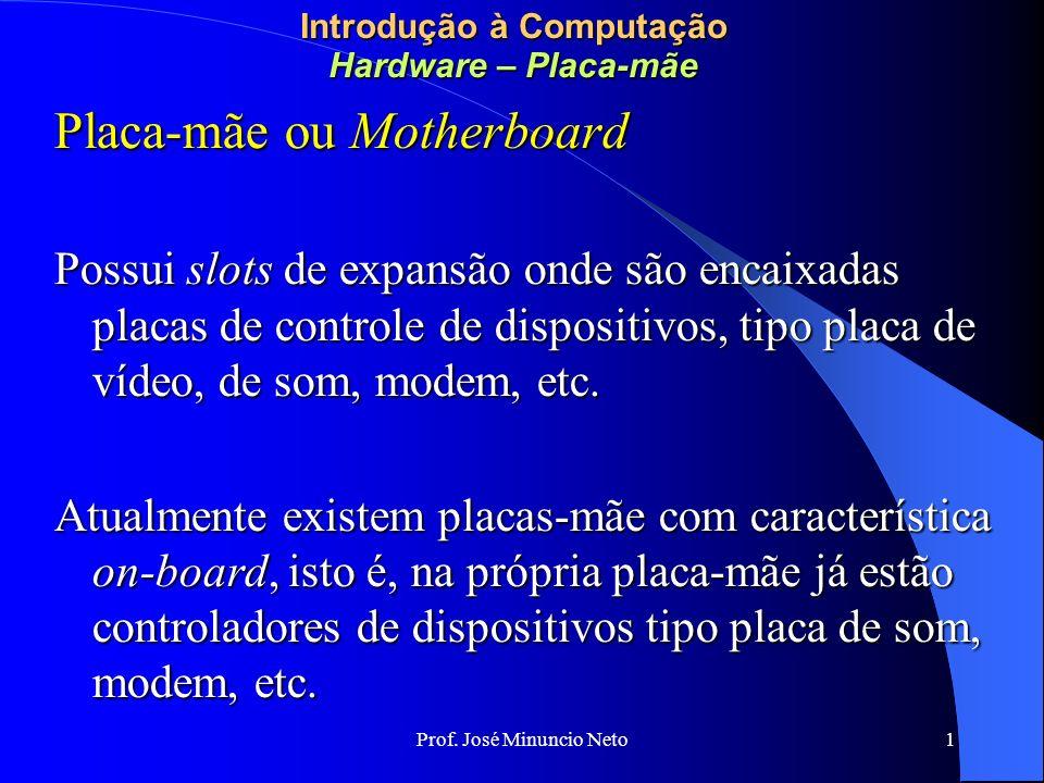 Prof. José Minuncio Neto 1 Introdução à Computação Hardware – Placa-mãe Placa-mãe ou Motherboard Possui slots de expansão onde são encaixadas placas d