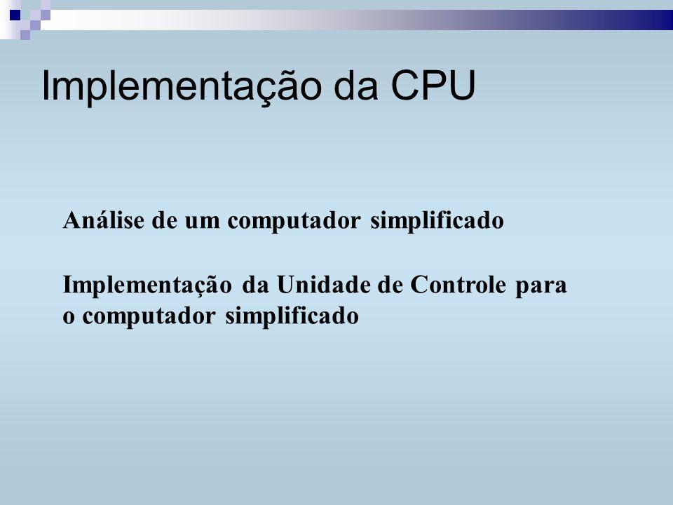 Implementação da CPU Análise de um computador simplificado Implementação da Unidade de Controle para o computador simplificado