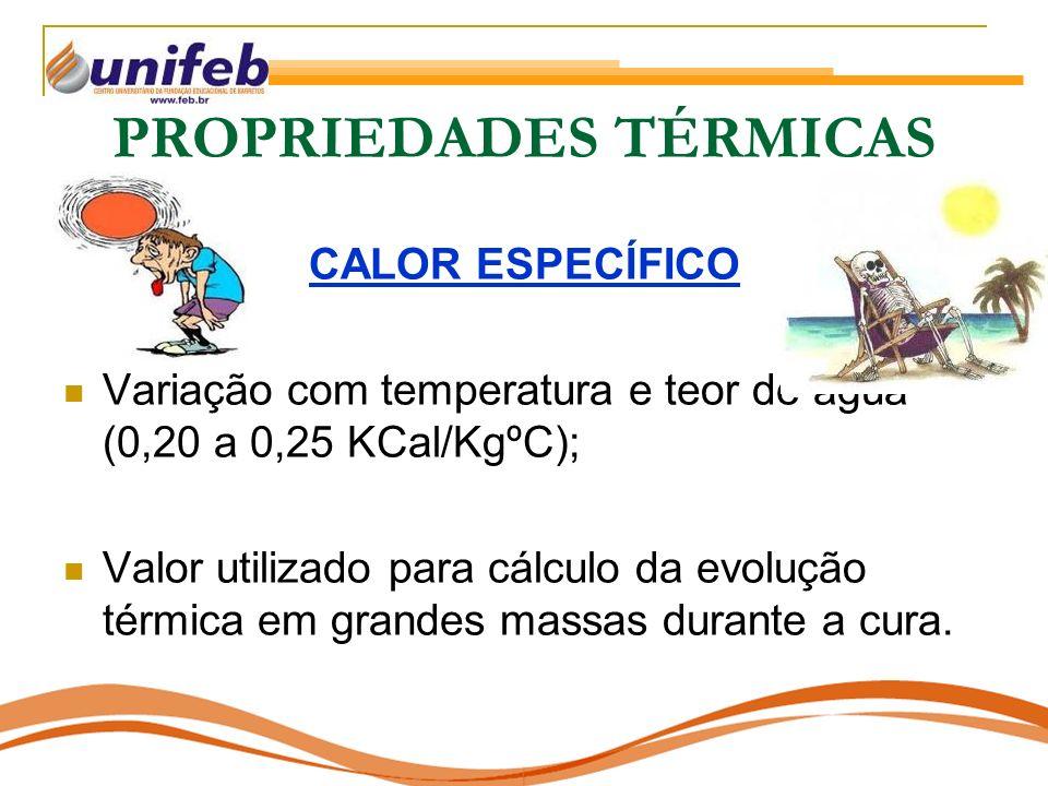 PROPRIEDADES TÉRMICAS CALOR ESPECÍFICO Variação com temperatura e teor de água (0,20 a 0,25 KCal/KgºC); Valor utilizado para cálculo da evolução térmica em grandes massas durante a cura.