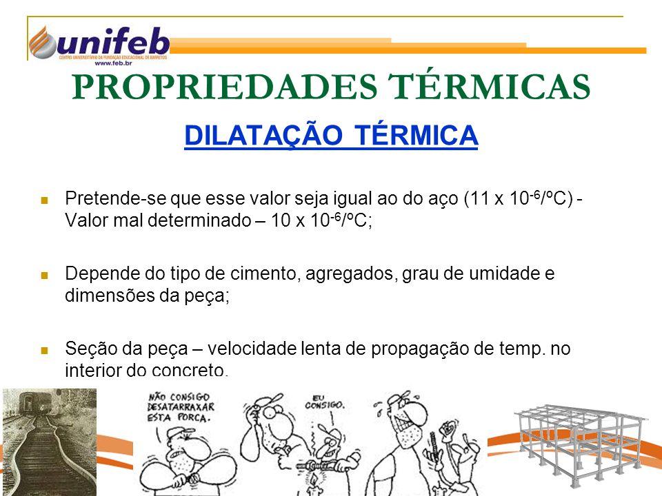 PROPRIEDADES TÉRMICAS DILATAÇÃO TÉRMICA Pretende-se que esse valor seja igual ao do aço (11 x 10 -6 /ºC) - Valor mal determinado – 10 x 10 -6 /ºC; Depende do tipo de cimento, agregados, grau de umidade e dimensões da peça; Seção da peça – velocidade lenta de propagação de temp.
