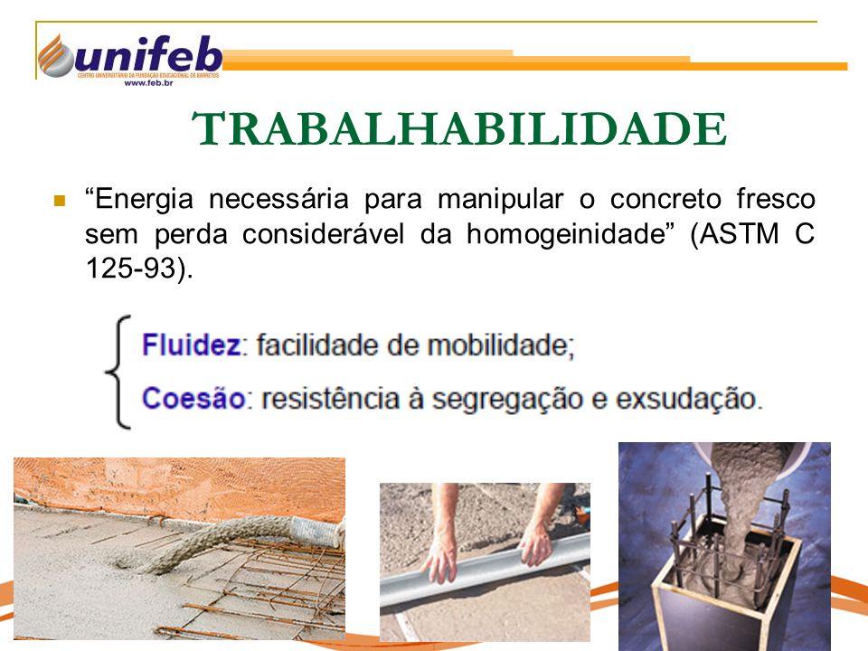 Energia necessária para manipular o concreto fresco sem perda considerável da homogeinidade (ASTM C 125-93).