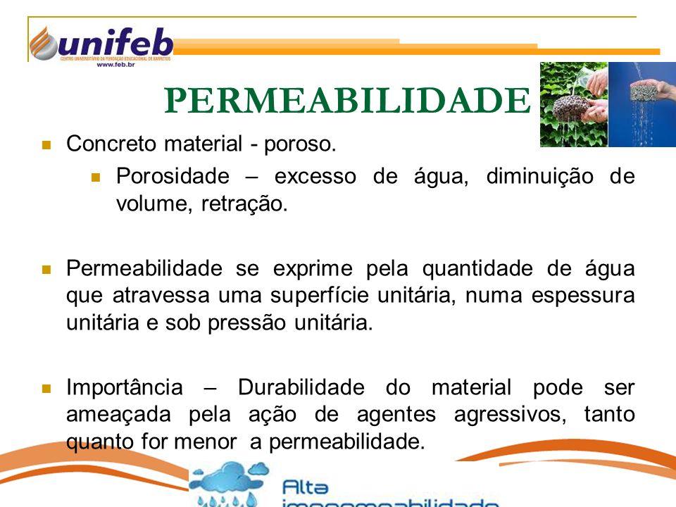 PERMEABILIDADE Concreto material - poroso.