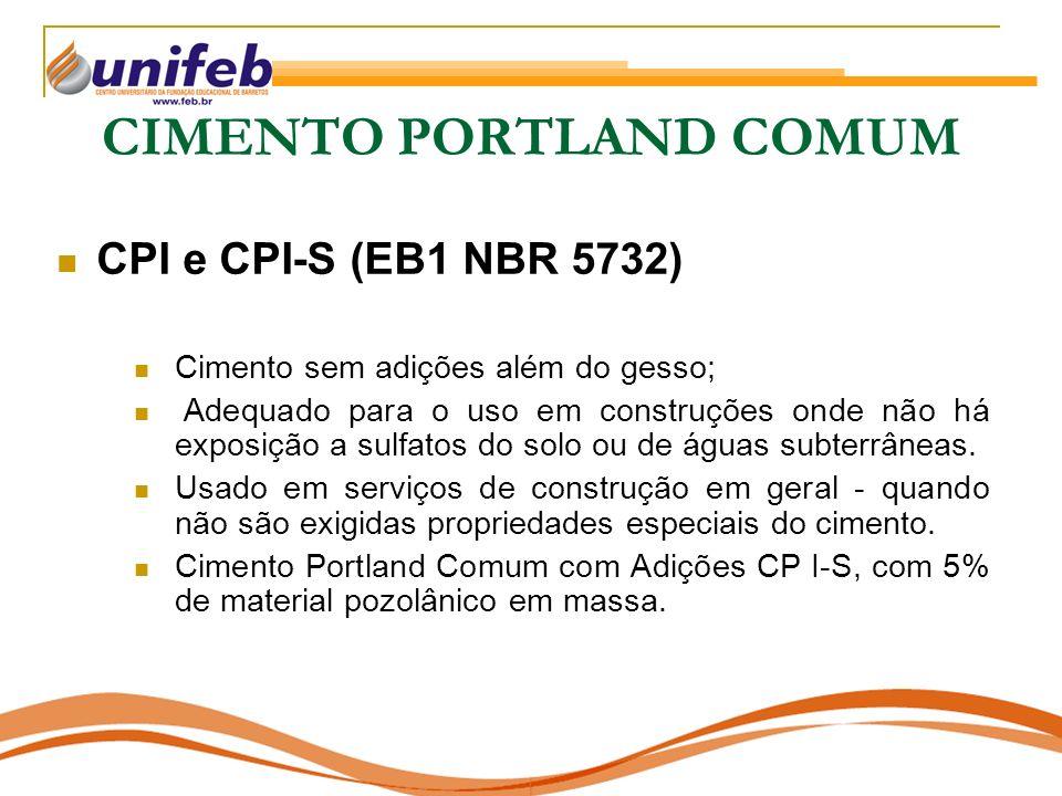 CIMENTO PORTLAND COMUM CPI e CPI-S (EB1 NBR 5732) Cimento sem adições além do gesso; Adequado para o uso em construções onde não há exposição a sulfat