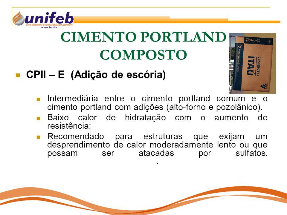 CIMENTO PORTLAND COMPOSTO CPII – E (Adição de escória) Intermediária entre o cimento portland comum e o cimento portland com adições (alto-forno e poz