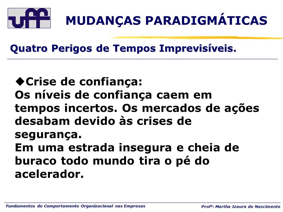 Fundamentos do Comportamento Organizacional nas Empresas Prof a : Martha Izaura do Nascimento Quatro Perigos de Tempos Imprevisíveis. MUDANÇAS PARADIG