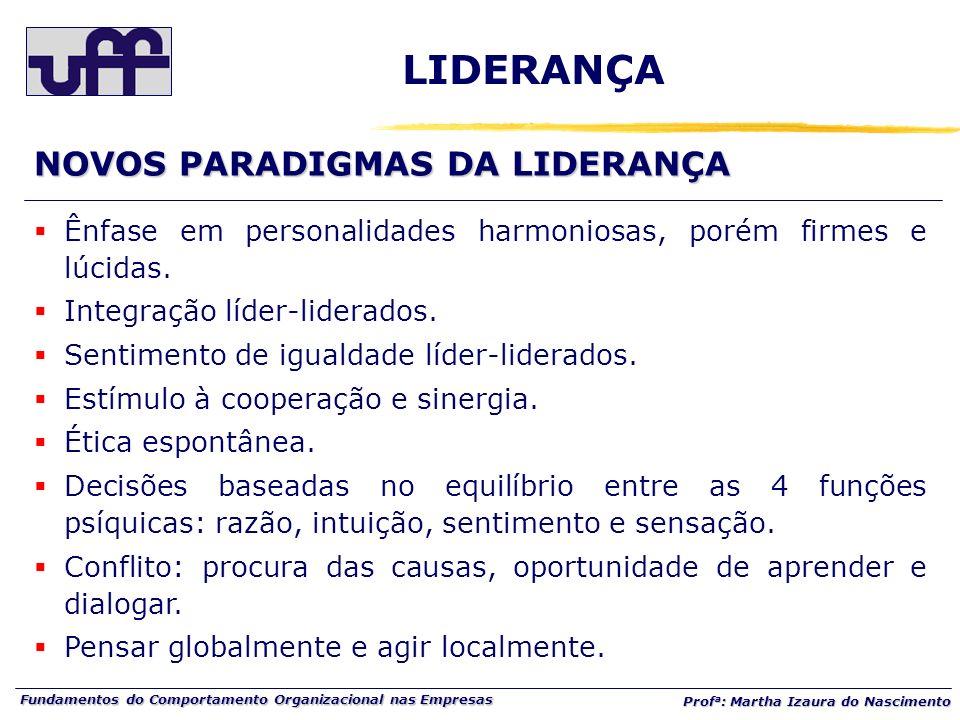 Fundamentos do Comportamento Organizacional nas Empresas Prof a : Martha Izaura do Nascimento LIDERANÇA Ênfase em personalidades harmoniosas, porém fi