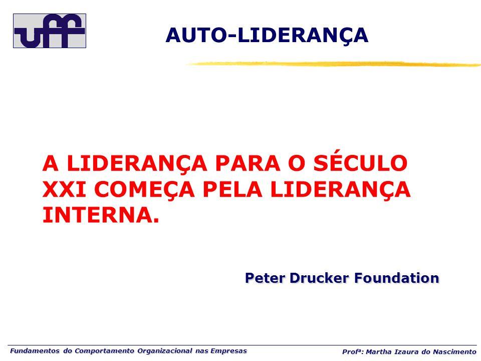 Fundamentos do Comportamento Organizacional nas Empresas Prof a : Martha Izaura do Nascimento AUTO-LIDERANÇA Peter Drucker Foundation A LIDERANÇA PARA