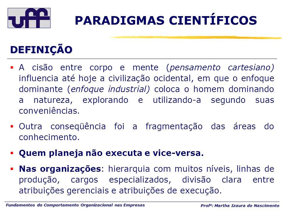 Fundamentos do Comportamento Organizacional nas Empresas Prof a : Martha Izaura do Nascimento A cisão entre corpo e mente (pensamento cartesiano) infl