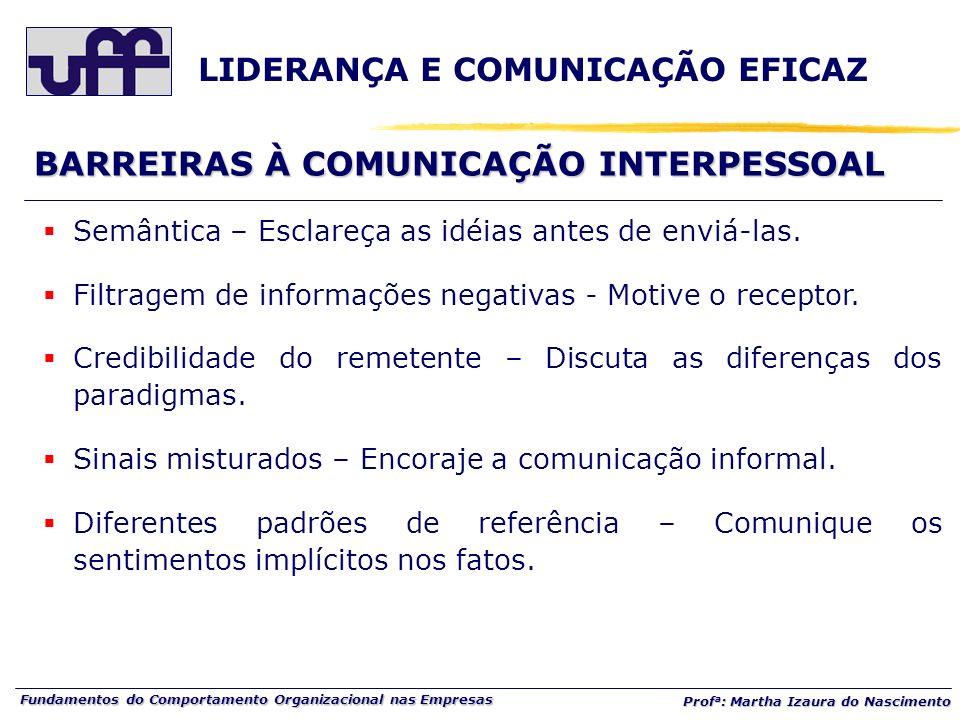 Fundamentos do Comportamento Organizacional nas Empresas Prof a : Martha Izaura do Nascimento BARREIRAS À COMUNICAÇÃO INTERPESSOAL Semântica – Esclare