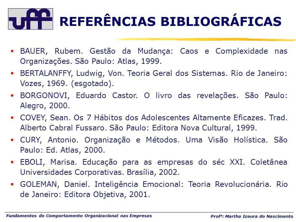 Fundamentos do Comportamento Organizacional nas Empresas Prof a : Martha Izaura do Nascimento BAUER, Rubem. Gestão da Mudança: Caos e Complexidade nas