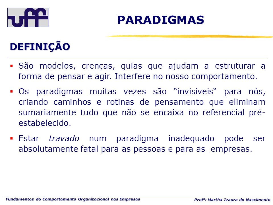 Fundamentos do Comportamento Organizacional nas Empresas Prof a : Martha Izaura do Nascimento DEFINIÇÃO São modelos, crenças, guias que ajudam a estru