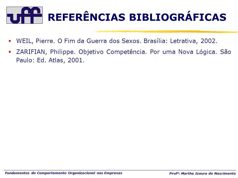 Fundamentos do Comportamento Organizacional nas Empresas Prof a : Martha Izaura do Nascimento WEIL, Pierre. O Fim da Guerra dos Sexos. Brasília: Letra