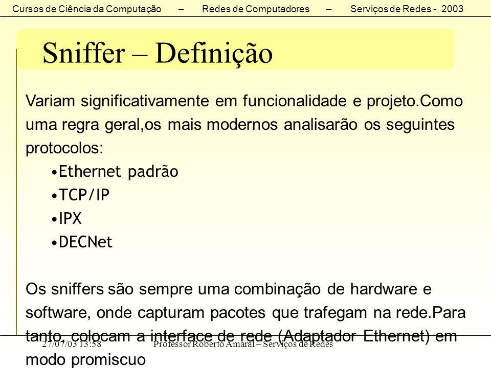 Cursos de Ciência da Computação – Redes de Computadores – Serviços de Redes - 2003 27/07/03 13:58Professor Roberto Amaral – Serviços de Redes Sniffer