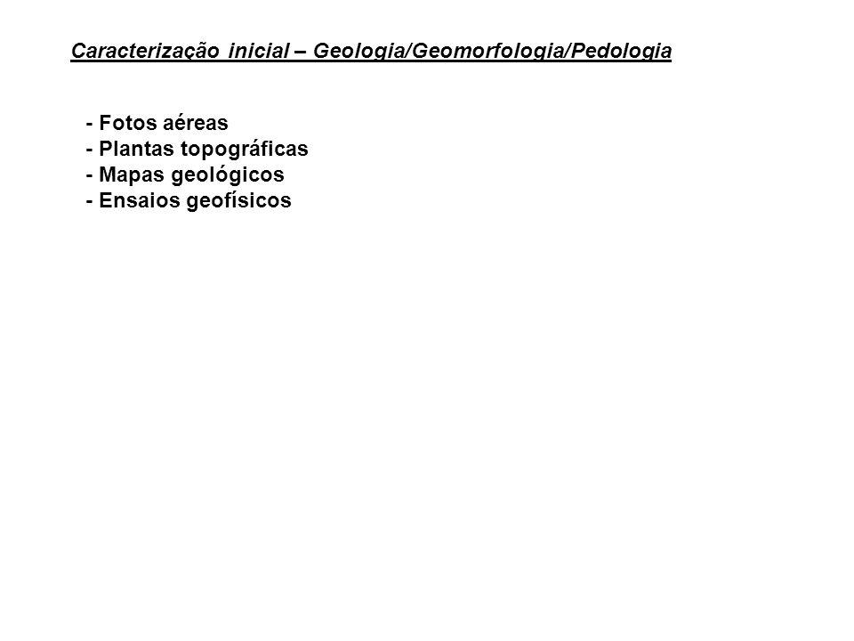 - Fotos aéreas - Plantas topográficas - Mapas geológicos - Ensaios geofísicos Caracterização inicial – Geologia/Geomorfologia/Pedologia