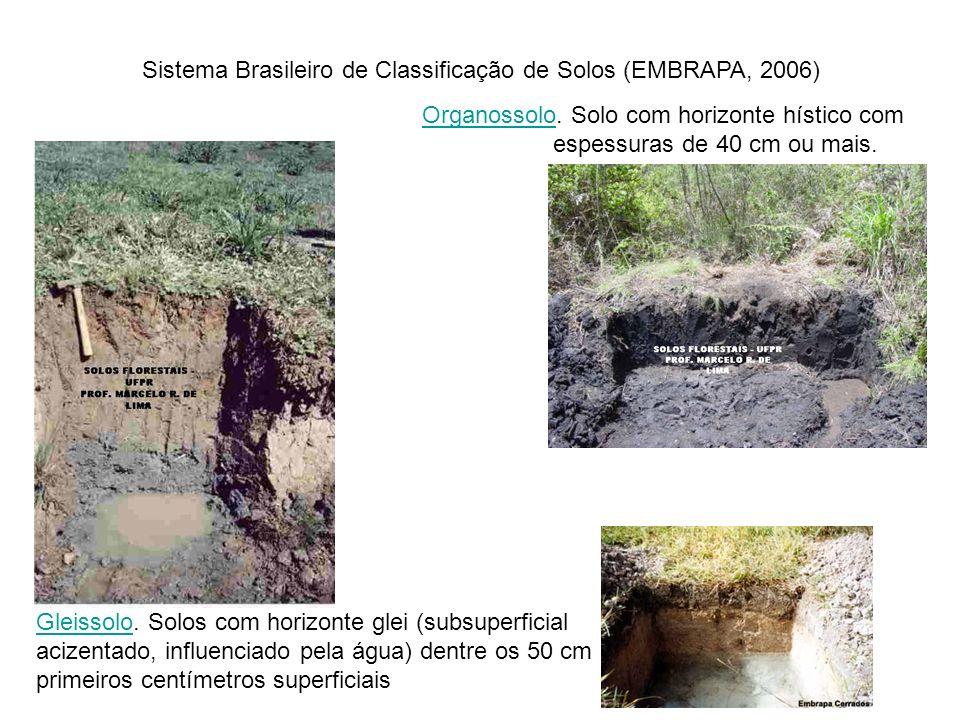 OrganossoloOrganossolo. Solo com horizonte hístico com espessuras de 40 cm ou mais. Sistema Brasileiro de Classificação de Solos (EMBRAPA, 2006) Gleis