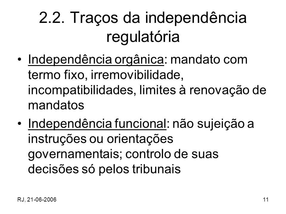 RJ, 21-06-200611 2.2. Traços da independência regulatória Independência orgânica: mandato com termo fixo, irremovibilidade, incompatibilidades, limite