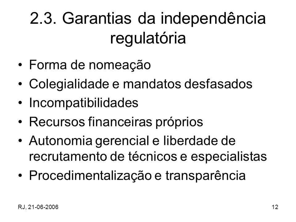RJ, 21-06-200612 2.3. Garantias da independência regulatória Forma de nomeação Colegialidade e mandatos desfasados Incompatibilidades Recursos finance