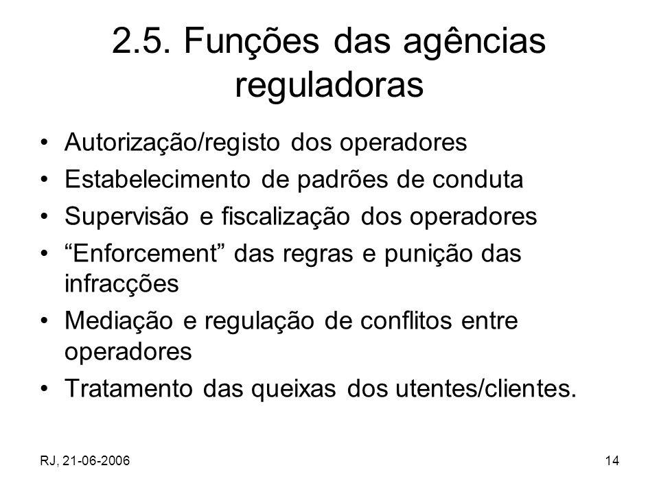 RJ, 21-06-200614 2.5. Funções das agências reguladoras Autorização/registo dos operadores Estabelecimento de padrões de conduta Supervisão e fiscaliza