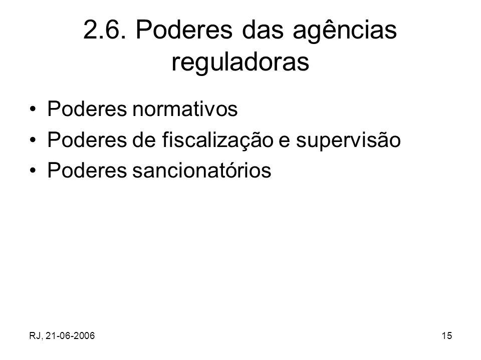 RJ, 21-06-200615 2.6. Poderes das agências reguladoras Poderes normativos Poderes de fiscalização e supervisão Poderes sancionatórios