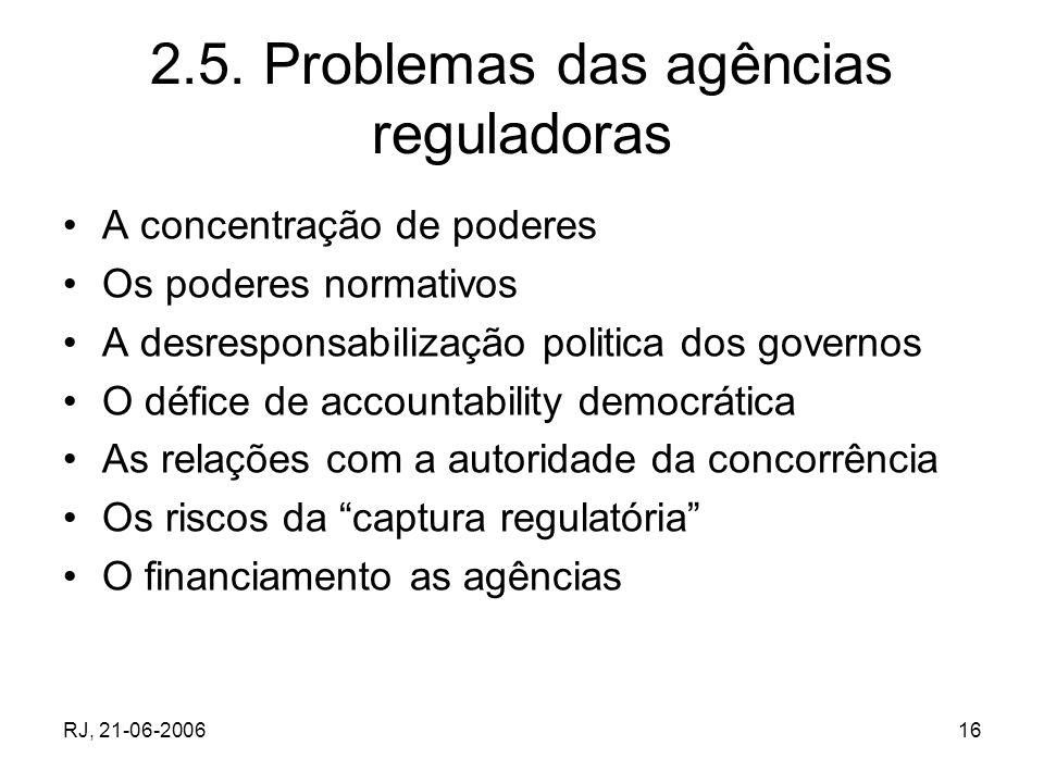 RJ, 21-06-200616 2.5. Problemas das agências reguladoras A concentração de poderes Os poderes normativos A desresponsabilização politica dos governos