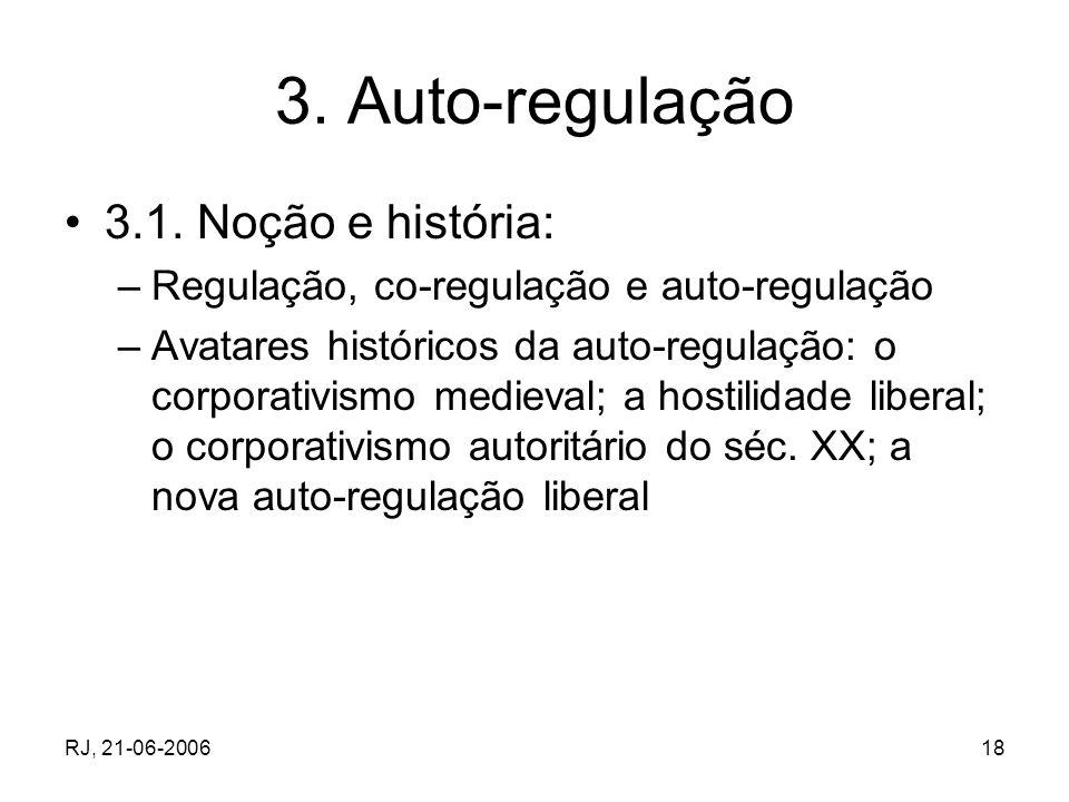 RJ, 21-06-200618 3. Auto-regulação 3.1. Noção e história: –Regulação, co-regulação e auto-regulação –Avatares históricos da auto-regulação: o corporat