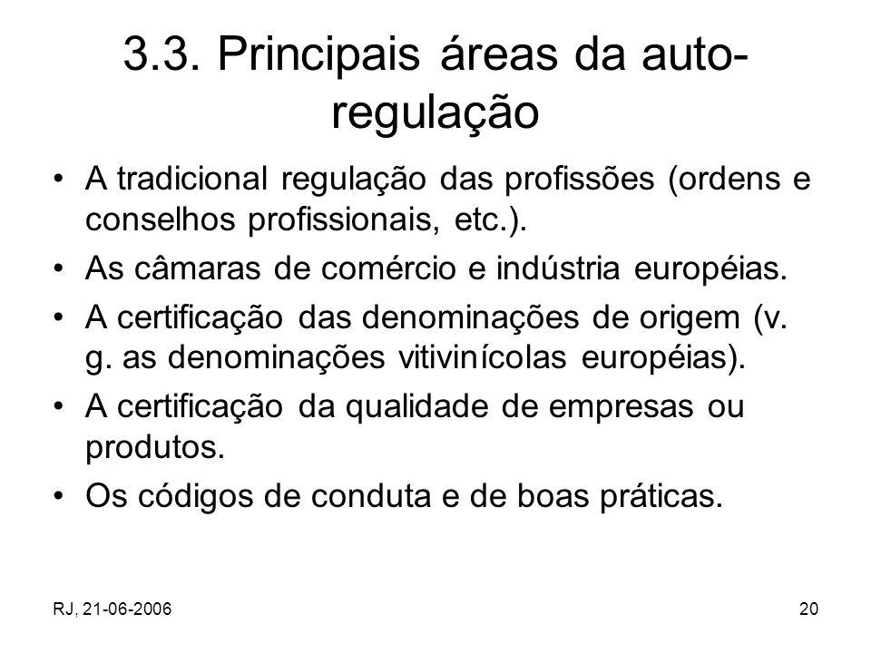 RJ, 21-06-200620 3.3. Principais áreas da auto- regulação A tradicional regulação das profissões (ordens e conselhos profissionais, etc.). As câmaras