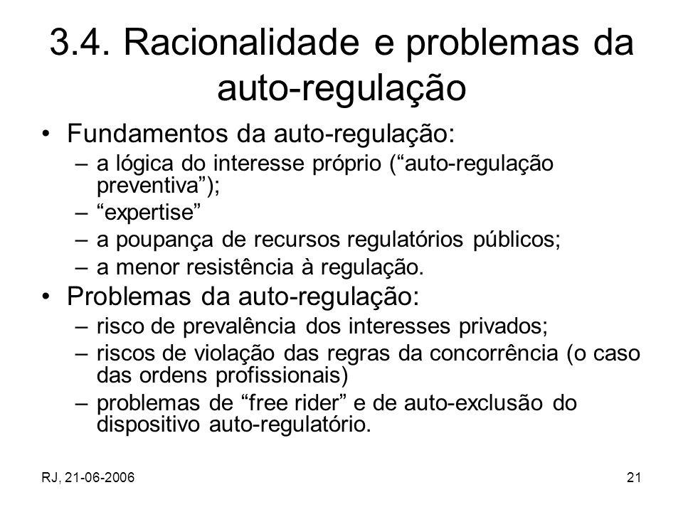 RJ, 21-06-200621 3.4. Racionalidade e problemas da auto-regulação Fundamentos da auto-regulação: –a lógica do interesse próprio (auto-regulação preven