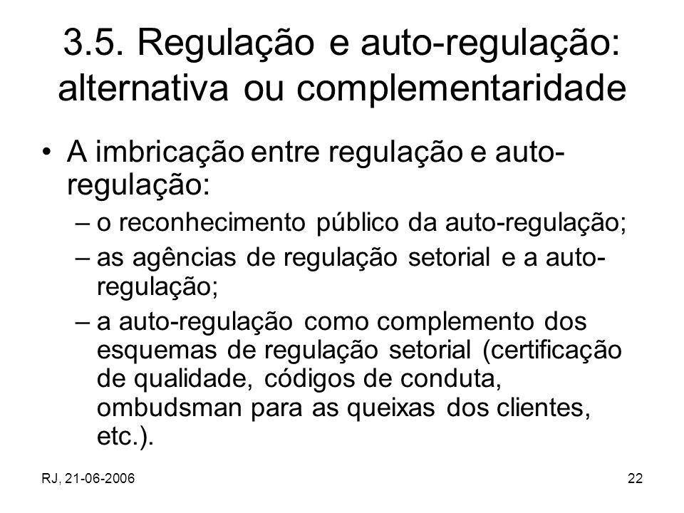 RJ, 21-06-200622 3.5. Regulação e auto-regulação: alternativa ou complementaridade A imbricação entre regulação e auto- regulação: –o reconhecimento p