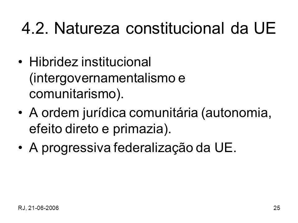 RJ, 21-06-200625 4.2. Natureza constitucional da UE Hibridez institucional (intergovernamentalismo e comunitarismo). A ordem jurídica comunitária (aut