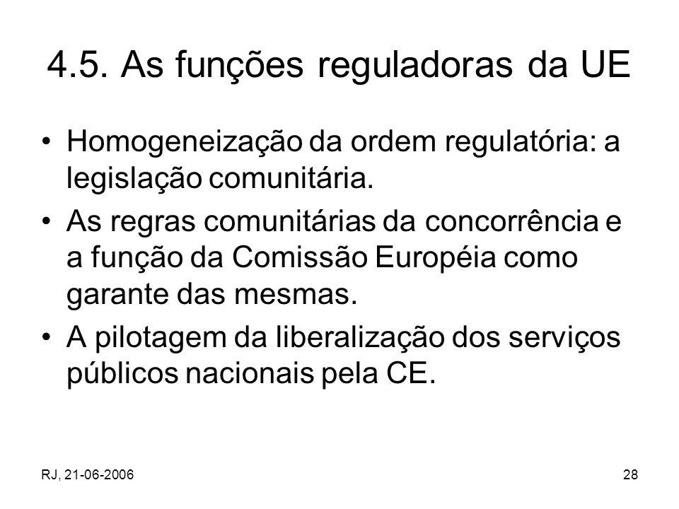 RJ, 21-06-200628 4.5. As funções reguladoras da UE Homogeneização da ordem regulatória: a legislação comunitária. As regras comunitárias da concorrênc