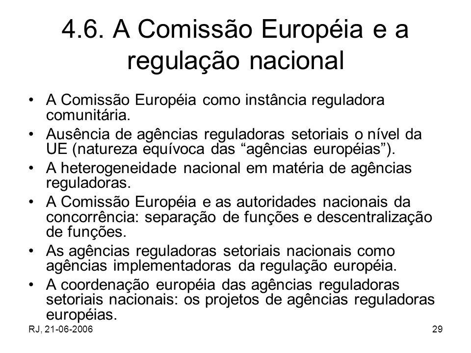 RJ, 21-06-200629 4.6. A Comissão Européia e a regulação nacional A Comissão Européia como instância reguladora comunitária. Ausência de agências regul