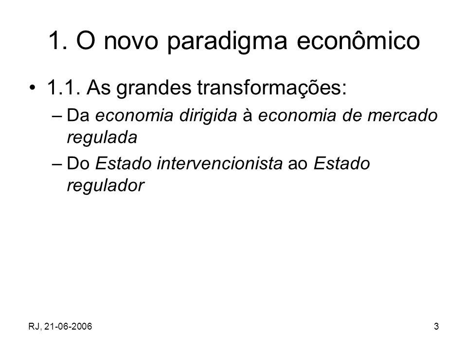 RJ, 21-06-20063 1. O novo paradigma econômico 1.1. As grandes transformações: –Da economia dirigida à economia de mercado regulada –Do Estado interven
