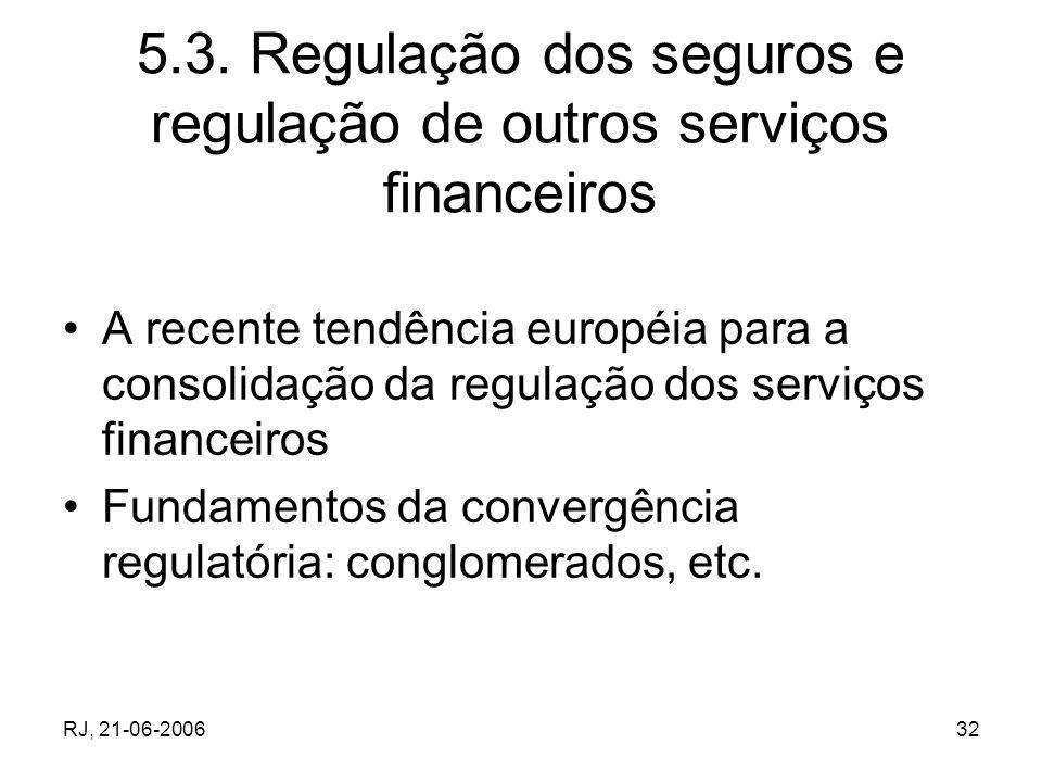 RJ, 21-06-200632 5.3. Regulação dos seguros e regulação de outros serviços financeiros A recente tendência européia para a consolidação da regulação d