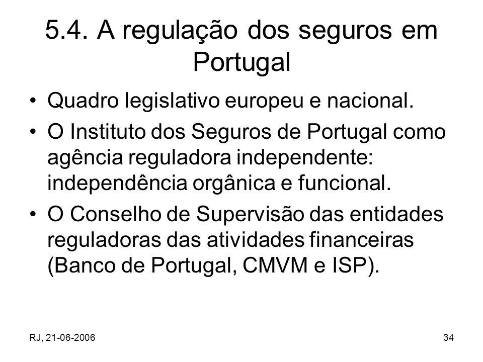RJ, 21-06-200634 5.4. A regulação dos seguros em Portugal Quadro legislativo europeu e nacional. O Instituto dos Seguros de Portugal como agência regu