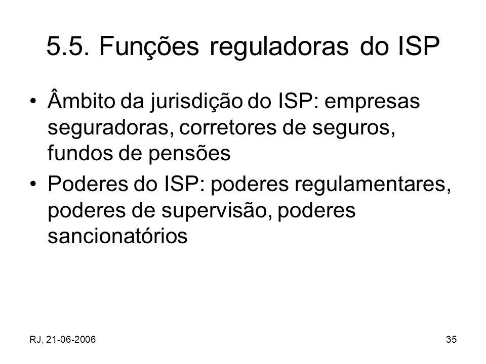 RJ, 21-06-200635 5.5. Funções reguladoras do ISP Âmbito da jurisdição do ISP: empresas seguradoras, corretores de seguros, fundos de pensões Poderes d