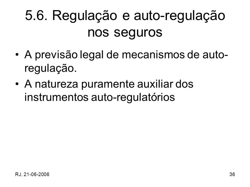RJ, 21-06-200636 5.6. Regulação e auto-regulação nos seguros A previsão legal de mecanismos de auto- regulação. A natureza puramente auxiliar dos inst