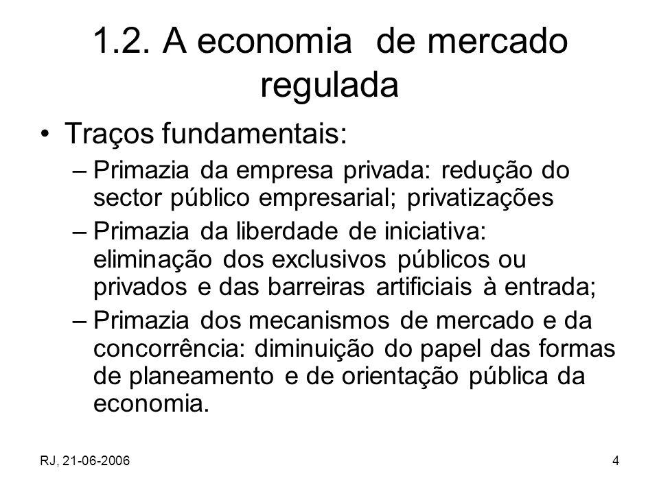 RJ, 21-06-20064 1.2. A economia de mercado regulada Traços fundamentais: –Primazia da empresa privada: redução do sector público empresarial; privatiz