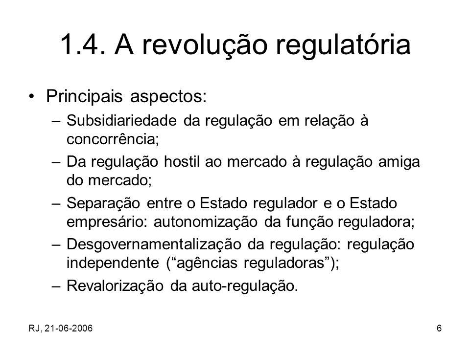 RJ, 21-06-20066 1.4. A revolução regulatória Principais aspectos: –Subsidiariedade da regulação em relação à concorrência; –Da regulação hostil ao mer