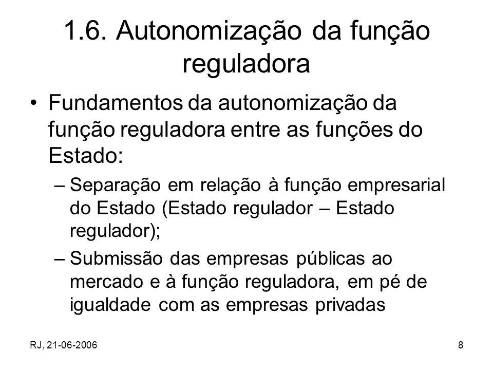 RJ, 21-06-20068 1.6. Autonomização da função reguladora Fundamentos da autonomização da função reguladora entre as funções do Estado: –Separação em re