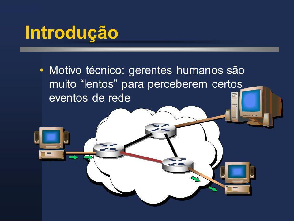 RMON - Probes RMON Um probe RMON possui pelo menos uma interface Ethernet para um segmento a ser gerenciado A interface Ethernet do probe opera em modo promíscuo, processando todos os pacotes do segmento Um mesmo probe pode possuir várias interfaces, para processar informações de vários segmentos ao mesmo tempo Cada segmento corresponde a uma interface do probe