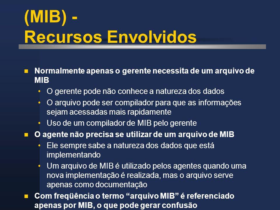 (MIB) - Recursos Envolvidos Normalmente apenas o gerente necessita de um arquivo de MIB O gerente pode não conhece a natureza dos dados O arquivo pode