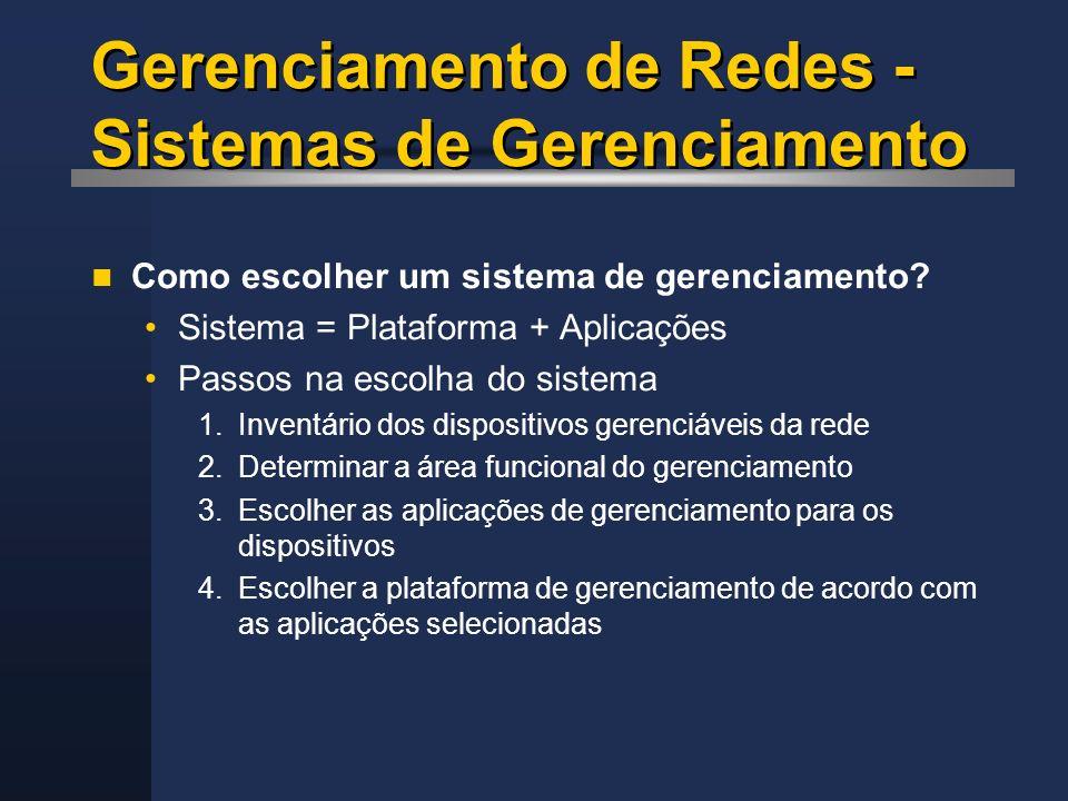 Gerenciamento de Redes - Sistemas de Gerenciamento Como escolher um sistema de gerenciamento? Sistema = Plataforma + Aplicações Passos na escolha do s