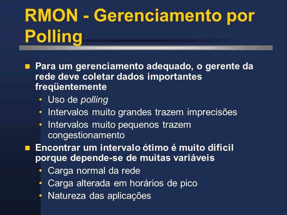 RMON - Gerenciamento por Polling Para um gerenciamento adequado, o gerente da rede deve coletar dados importantes freqüentemente Uso de polling Interv