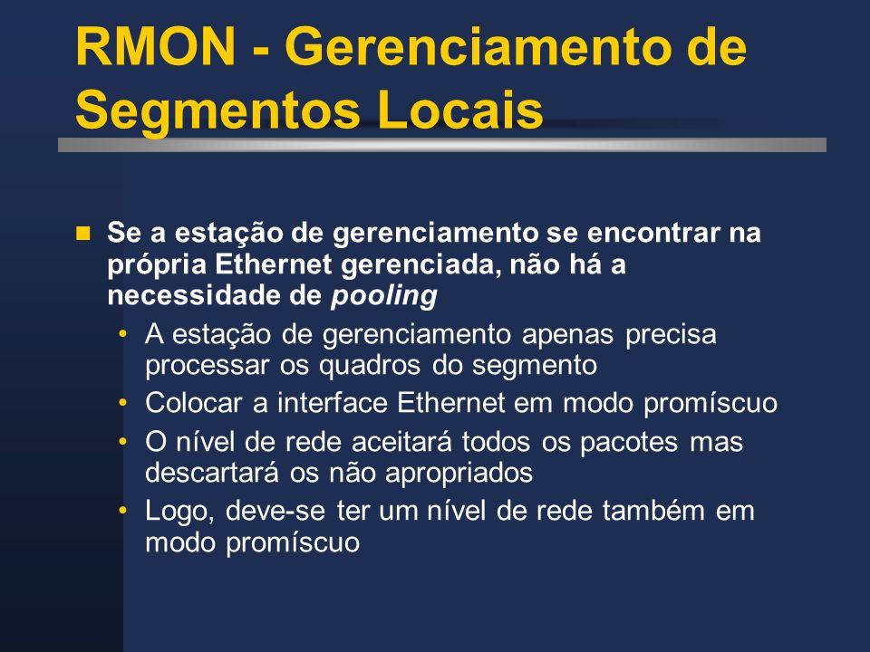 RMON - Gerenciamento de Segmentos Locais Se a estação de gerenciamento se encontrar na própria Ethernet gerenciada, não há a necessidade de pooling A