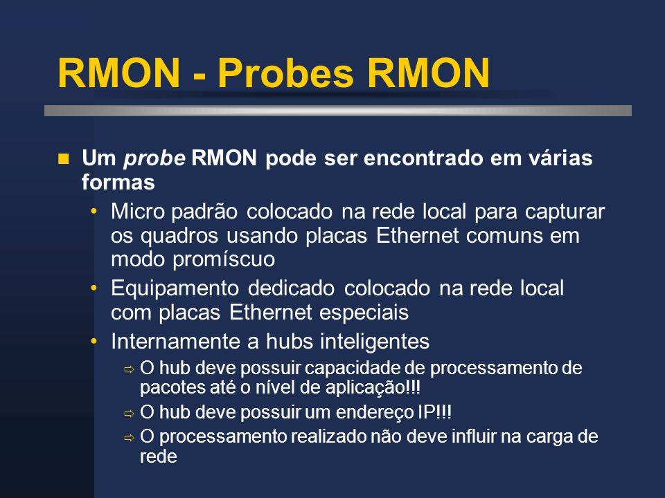 RMON - Probes RMON Um probe RMON pode ser encontrado em várias formas Micro padrão colocado na rede local para capturar os quadros usando placas Ether