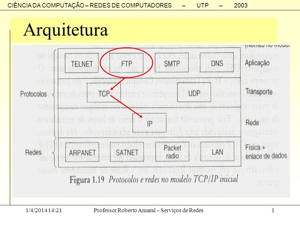 CIÊNCIA DA COMPUTAÇÃO – REDES DE COMPUTADORES – UTP – 2003 1/4/2014 14:23Professor Roberto Amaral – Serviços de Redes1 Arquitetura