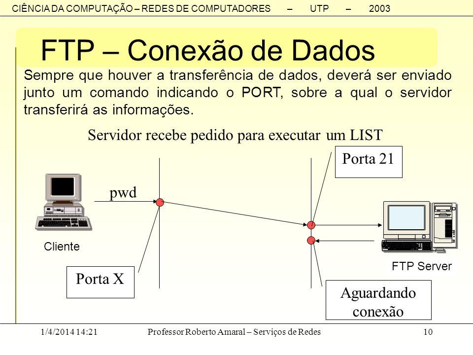 CIÊNCIA DA COMPUTAÇÃO – REDES DE COMPUTADORES – UTP – 2003 1/4/2014 14:23Professor Roberto Amaral – Serviços de Redes10 FTP – Conexão de Dados Sempre