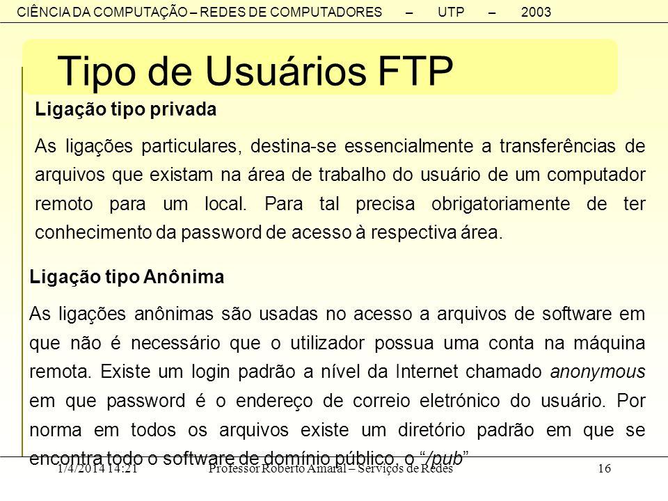 CIÊNCIA DA COMPUTAÇÃO – REDES DE COMPUTADORES – UTP – 2003 1/4/2014 14:23Professor Roberto Amaral – Serviços de Redes16 Tipo de Usuários FTP Ligação t