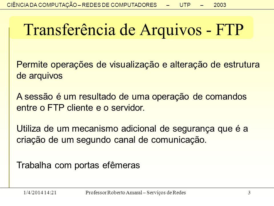 CIÊNCIA DA COMPUTAÇÃO – REDES DE COMPUTADORES – UTP – 2003 1/4/2014 14:23Professor Roberto Amaral – Serviços de Redes3 Transferência de Arquivos - FTP