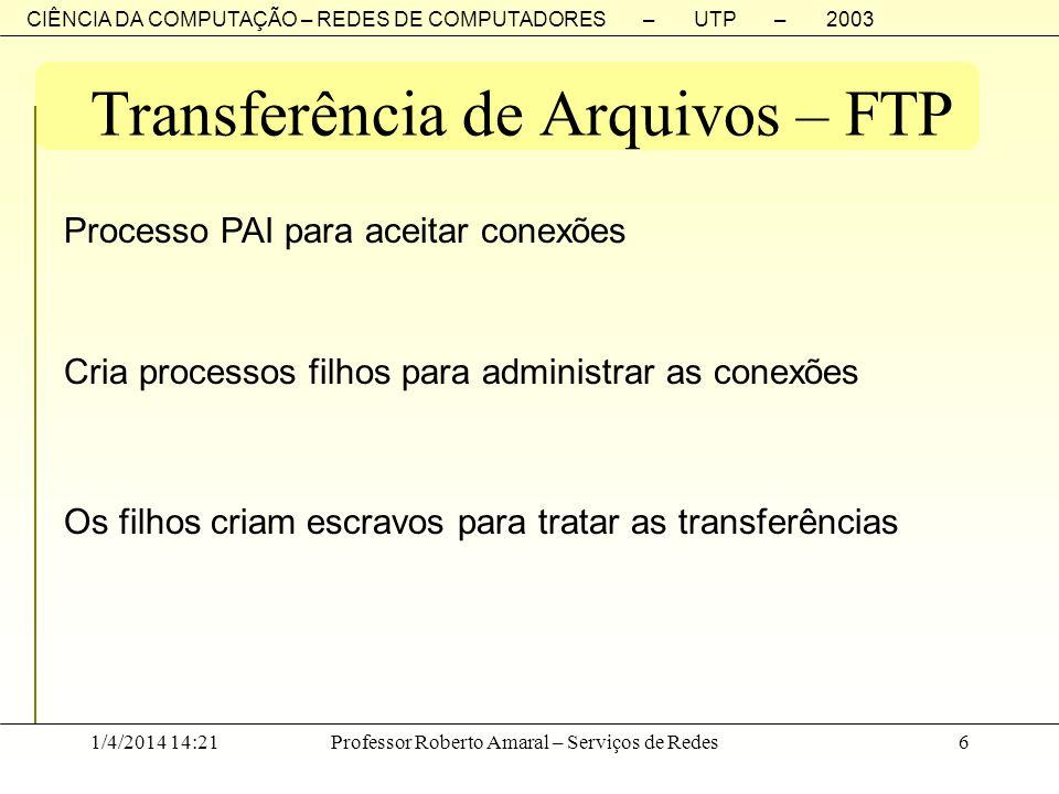 CIÊNCIA DA COMPUTAÇÃO – REDES DE COMPUTADORES – UTP – 2003 1/4/2014 14:23Professor Roberto Amaral – Serviços de Redes6 Transferência de Arquivos – FTP